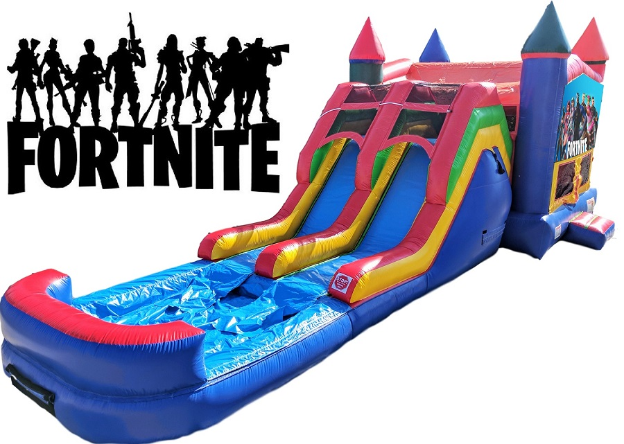 Fortnite Bounce House Water with Dual Lane Water Slide attached