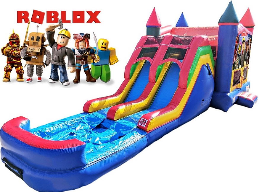 Roblox Bounce House with Dual Water Slides