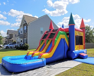 Super-Duper Combo - Bounce House w/Double Water Slides