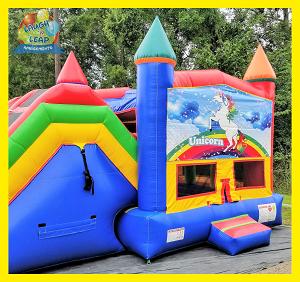 Unicorn Bounce House & Double Slide Combo